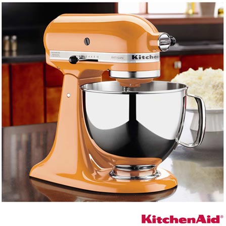 Batedeira Planetária KitchenAid Stand Mixer com 10 Velocidades e 3 Batedores - KEA33C8, 110V, Laranja, 4,83 Litros, 10, 275 W, 12 meses