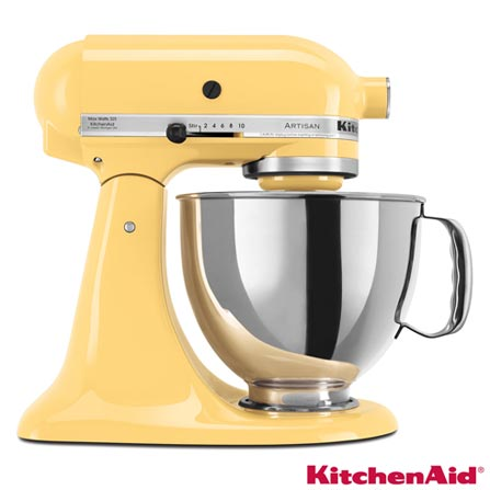 Batedeira Planetária Kitchenaid Stand Mixer com 10 Velocidades e 3 Batedores - KEA33CY, 110V, Amarelo, 4,8 Litros, 10, 275 W