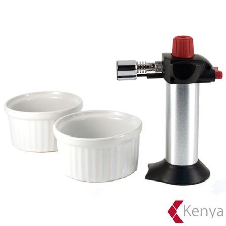 Conjunto para Creme Brulee com Maçarico Hotery e 02 Ramekins de Porcelana - Kenya, Preto e Aco, Redondo, Porcelana, 03 Peças