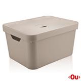 Caixa Organizadora com Tampa Cube G Bege - Ou