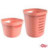 Conjunto Cesto para Roupas Cube Flex com 02 Peças Terracota - OU