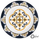 Conjunto de Pratos Fundos com 06 Peças em Cerâmica Floreal São Luiz Azul e Amarelo - Oxford Daily
