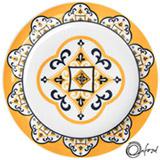Conjunto de Pratos para Sobremesa com 06 Peças em Cerâmica Floreal São Luiz Azul e Amarelo - Oxford Daily