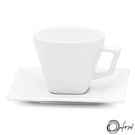 Aparelho de Jantar 30 Peças Quartier White - Oxford, Branco, Liso, Porcelana, 30, Quadrado, 12 meses