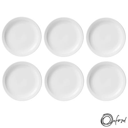 Conjunto de Pratos Rasos Oxford Daily Branco com 6 Peças - JM12-6014, Branco, Liso, Cerâmica, Redondo, 12 meses