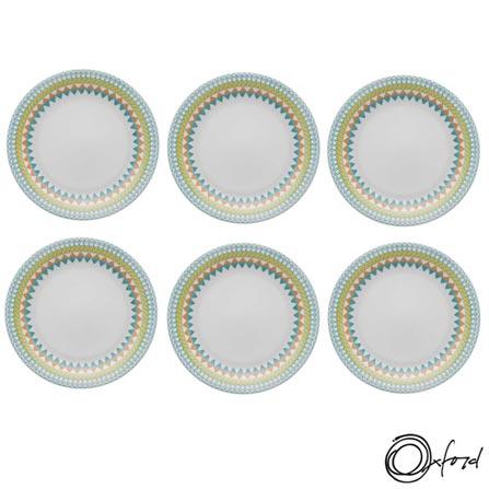 Conjunto de Pratos Rasos Oxford Daily Floreal Bilro com 6 Peças - JM12-6770, Colorido, Estampado, Cerâmica, Redondo, 12 meses