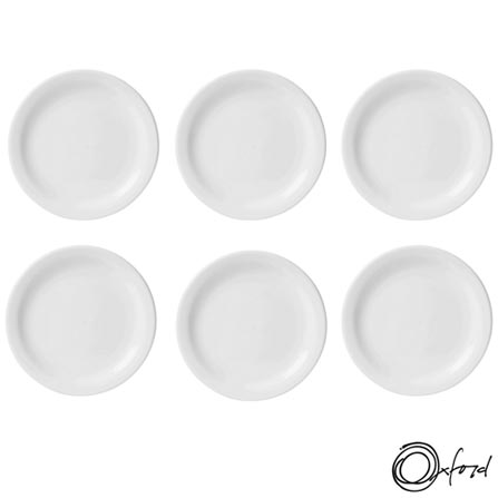 Conjunto de Pratos de Sobremesa Oxford Daily Branco com 6 Peças - JM18-6014, Branco, Liso, Cerâmica, Redondo, 12 meses