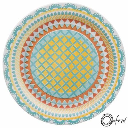Conjunto de Pratos de Sobremesa Oxford Daily Floreal Bilro com 6 Peças - JM18-6770, Colorido, Estampado, Cerâmica, Redondo, 12 meses
