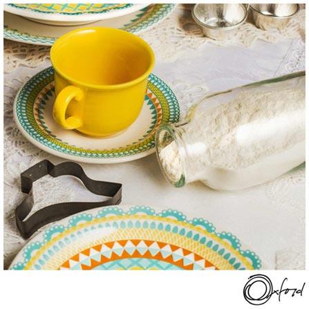 Conjunto de Xícaras para Chá Oxford Daily Floreal Bilro com 06 Peças - JM21-6770, Colorido, Chá, Estampado, Cerâmica, 6, 12 meses