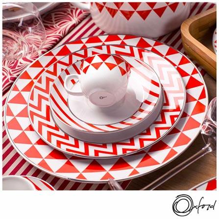 , Branco e Vermelho, Estampado, Porcelana, 30, Redondo, 12 meses
