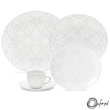 Aparelho de Jantar 30 Peças Loop Lace - Oxford, Não se aplica, Estampado, Porcelana, 30, Oval