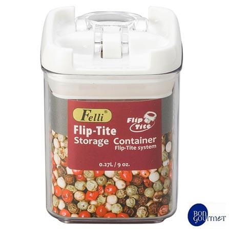 Pote Hermético Quadrado para Mantimento em Acrílico com 270ml - Bon Gourmet, Não se aplica, Acrílico, 1, 03 meses