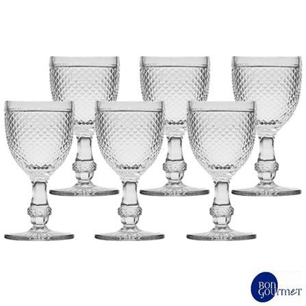 Conjunto de Taças para Água em Vidro de 234 ml com 06 Peças - Bon Gourmet, Não se aplica, Vidro, 06 Peças, 234 ml, 03 meses
