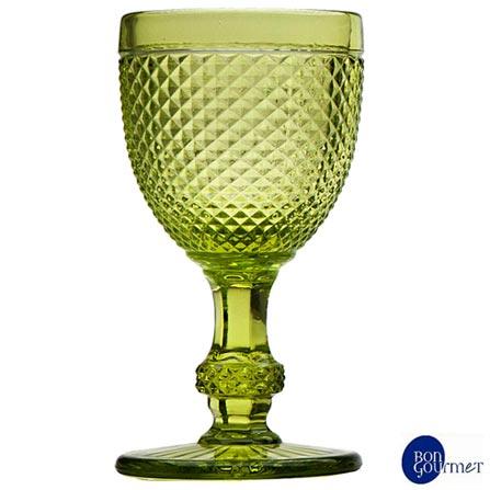 Conjunto de Taças para Vinho em Vidro de 130 ml com 06 Peças Verde - Bon Gourmet, Verde, Vidro, 06 Peças, 130 ml, 03 meses
