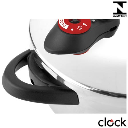 Panela de Pressão com 6 Litros em Inox - Clock, Não se aplica, Panela de Pressão, 03 Peças, 2 Litros, 22 cm, Inox, 24 meses