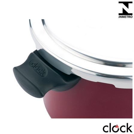 Panela de Pressao com 4,5 Litros em Aluminio Conforto Vermelha - Clock, Não se aplica, Panela de Pressão, 01 Peça, 4,5 Litros, 20 cm, Alumínio e antiaderente, 24 meses