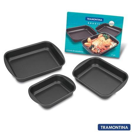 Conjunto de Assadeiras Tramontina Starflon com 3 Peças Antiaderente, Preto, Assadeiras, 03 Peças, Antiaderente, Retangular, 03 meses