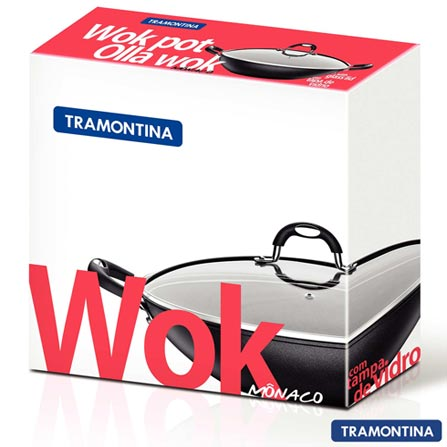 Panela Wok em Alumínio e Antiaderente com 32 cm Mônaco - Tramontina, Preto e Prata, Panela Wok, 01 Peça, Antiaderente, 32 cm, 03 meses