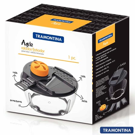 Ralador e Fatiador Agile Cinza com Recipiente Armazenador de 4,2 Litros - Tramontina, Não se aplica, Polipropileno e Aço Inox, 06 Peças