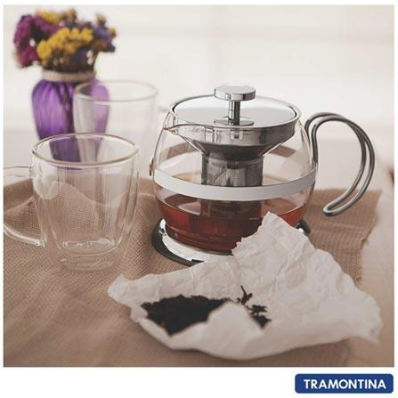 Bule para Chá com Capacidade de 900 ml em Vidro e Aço Inox - Tramontina, Não se aplica, 0,9 Litros, Vidro, 12 meses