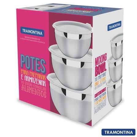 Jogo de Potes em Inox com Tampa Plástica 03 Peças Cucina - Tramontina - 64220710, Não se aplica, Inox, 3, 12 meses