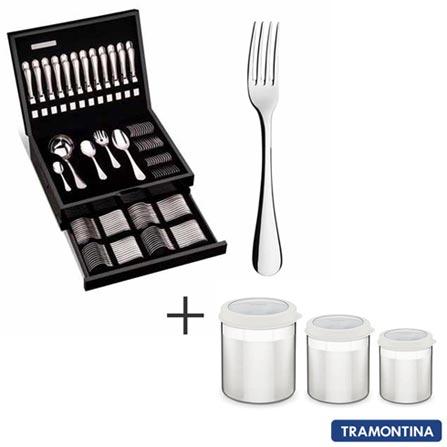 Faqueiro em Aço Inox 130 Peças Classic - Tramontina e Leve Jogo de Potes Cucina em Aço Inox com Tampa Plástica 3 Peças, 0