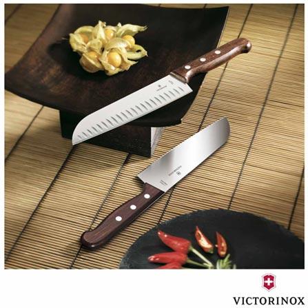 Faca Santoku com Sulcos em Aco Inox - Victorinox, Não se aplica, Inox e madeira, 1, Vitalícia