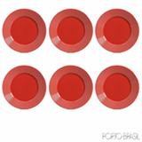 Conjunto de Pratos Raso com 06 Peças em Cerâmica Argos Vermelho - Porto Brasil
