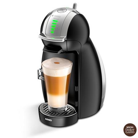 Maquina Nescafe Dolce Gusto Genio 2 Arno com 15 bar, Multibebidas e Sistema Thermoblock - Preto - DNG0, 110V, 220V, Preto, Espresso automática, Cápsulas, 0,8 Litros, 15 Bars, 01 xícara, Café Espresso e Lungo, Metal e Plástico, 110 V - 1460W e 220V - 1340W, 12 meses