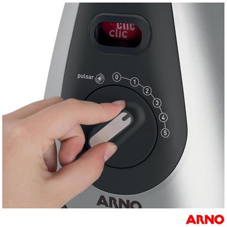 Liquidificador Arno Clic'Lav com 05 Velocidades e Jarra de Vidro com 1,5 Litros - LN77, 110V, 220V, Preto e Inox, Vidro, 5, 1,5 Litros, Não, 600 W, Importado, 12 meses