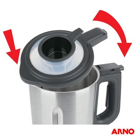 Liquidificador Arno Soup+ Stile com 8 Funções e Jarra com 2 Litros - LNSP, 110V, 220V, Preto e Inox, Inox, Multi-Velocidades, 02 Litros, Não, 1100 W, Importado, 12 meses
