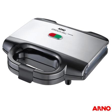 Sanduicheira Compacta Grill Arno - SACG, 110V, 220V, Inox, 02 Sanduiches, Grelhar, 110V - 700 W e 220V - 640 W, 12 meses