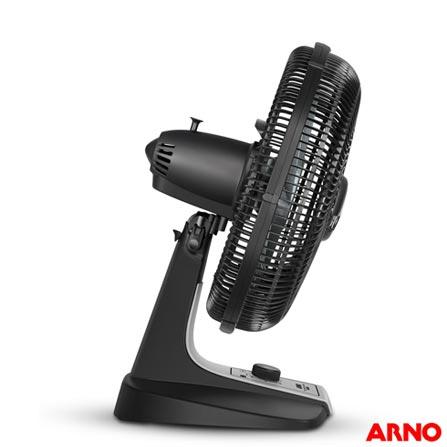 Ventilador de Mesa Turbo Silencio Maxx TS55 com 03 Velocidades Preto e Prata - Arno, 110V, 220V, Preto e Prata, Mesa, 03, 06, Não, 127 W