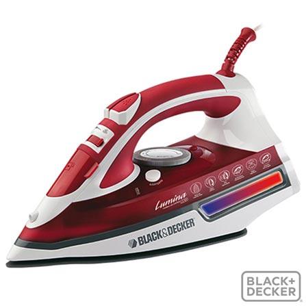Ferro a Vapor Lumina Red Black & Decker com 05 Níveis de Temperatura - AJ3000V, 110V, 220V, Vermelho, Vapor, 05, Não especificado, Não especificado, 110V - 1200 W e 220V - 2000 W