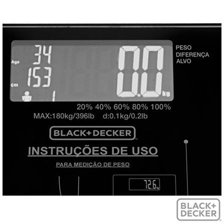 Balança Digital Black & Decker para até 180 kg - BK55, 180 kg, 12 meses