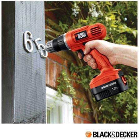 Parafusadeira e Furadeira Sem Fio Black & Decker - GC1200-BR, Laranja, 12 V