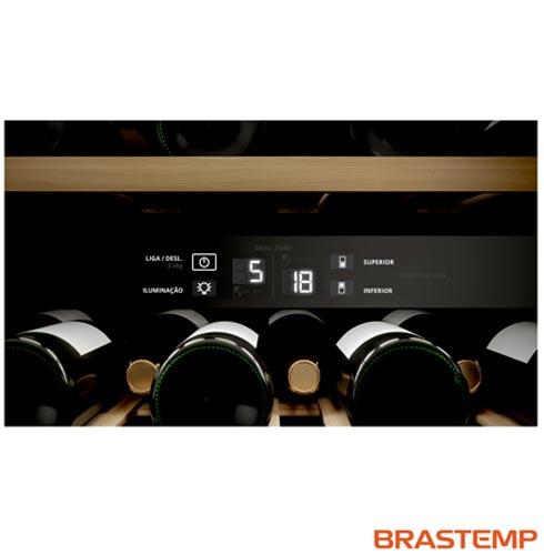 , 110V, 220V, Inox, Compressor, 51 Garrafas, Compartimento superior: 05 - 10 ºC e Compartimento inferior: 10 - 18 ºC, Não especificado, 60 Hz, 12 meses