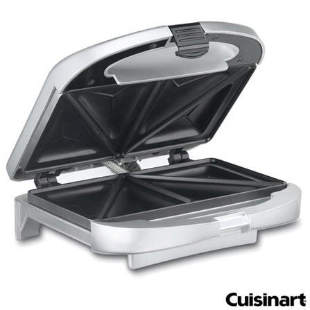 Sanduicheira Cuisinart com Capacidade para 02 Fatias em Cromo Escovado - WM-SW2NBR, 110V, 220V, Inox, 02 Sanduiches, Grelhar, 800 W, 64 W, 12 meses