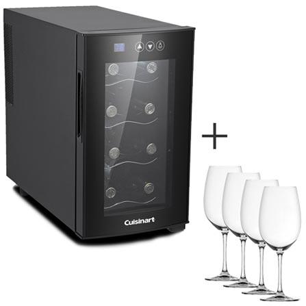Adega de Vinhos Cuisinart 08 Garrafas 220V - 4092640101 + Conjunto de Taças Spiegelau Salute para Vinho Bordeaux, 0