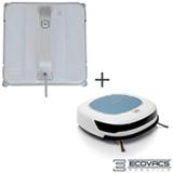 Robô Limpa Vidros Ecovacs Robotics - Winbot W850 + Robô Aspirador de Pó Ecovacs Robotics Branco e Azul - Deebot4