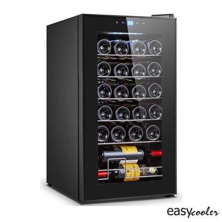 , 110V, 220V, Preto, Compressor, 24 Garrafas, 05 Prateleiras, de 5° C a 18° C, 70 W, 60 Hz, 12 meses