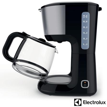 Cafeteira Electrolux Love Your Day Preta para Café em Pó - CMM20, 110V, 220V, Preto e Aco, Elétrica, Pó, Não especificado, Não se aplica, 30 xícaras, Café, Plástico e Aço Escovado, 110V - 1000W e 220V - 915W, 12 meses