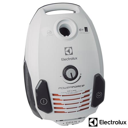 Aspirador de Po Electrolux PowerForce com Capacidade de 3,5 Litros e Saco coletor- PFC02, Branco, Pó, 3,5 Litros, Filtro, Sim, 1,80 kW/h, 1250 W, 12 meses