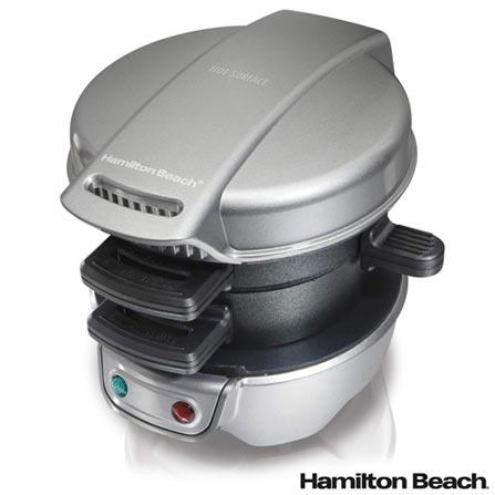 Sanduicheira Multiuso Hamilton Beach com Seletor de Temperatura Automático - 25475BZ, 110V, 220V, Prata, 02 fatias, 600 W, 36 meses