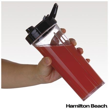 Liquidificador Hamilton Beach com 01 Velocidade e Multijarras - 52400BZ, 110V, 220V, Preto e Prata, Tritan, 1, 1 Litro, 500 ml e 250 ml, Não, 250 W, Importado, 36 meses