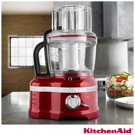 Processador de Alimentos KitchenAid Pro Line com 3 Velocidades, Capacidade de 4 Litros, Fatia, Corta e Rala - KJA16A3ANA, 110V, Vermelho, 03, 4 Litros, 700 W, 12 meses
