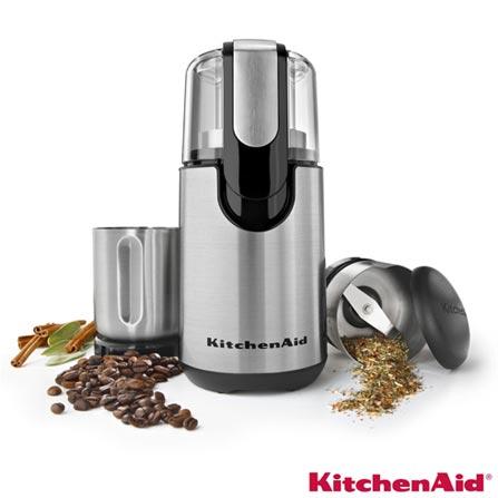 Moedor Elétrico KitchenAid para Grãos e Temperos Inox com 1 Velocidade, Capacidade de 125 ml e 62 ml - KJB22AR, 110V, Inox, Inox, 12 meses