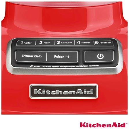 Liquidificador KitchenAid Diamond Blender com 05 Velocidades e Jarra com 1,7 Litros - KUA15AV, 110V, 220V, Vermelho, Policarbonato, 5, 1,7 Litros, Não, 110V - 650 W e 220V - 550 W, 12 meses