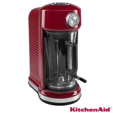 Liquidificador com Magnetic Drive KitchenAid 1,77L - KUA25A3 - KIKUA25A3VRM, 110V, Vermelho, Policarbonato, 5, 1,77 Litros, Não, 1470 W, Importado, 84 meses