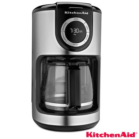 Cafeteira KitchenAid Programável Onyx Black para Café em Pó - KXA12ASANA, 110V, Prata e Preto, Elétrica, Pó, 1,9 Litros, Não se aplica, 12 xícaras, Café, Vidro, Plástico e Aço, 110 W, 12 meses